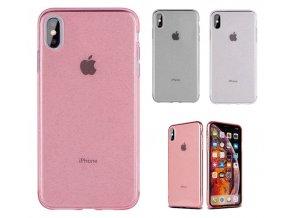 Průhledný třpytivý kryt silicon glitter pro Apple iPhone X/XS