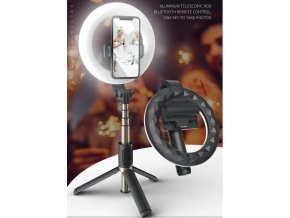 Selfie tyč s kruhovým LED světlem, stativem a ovladačem