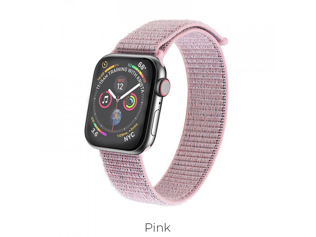 hoco wb06 tortuous nylon sports strap for apple watch pink 2
