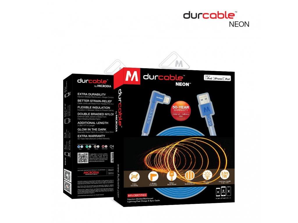 Nabíjecí kabel - Microdia durcable neon - 3,3m - USB-A / Lightning MFi