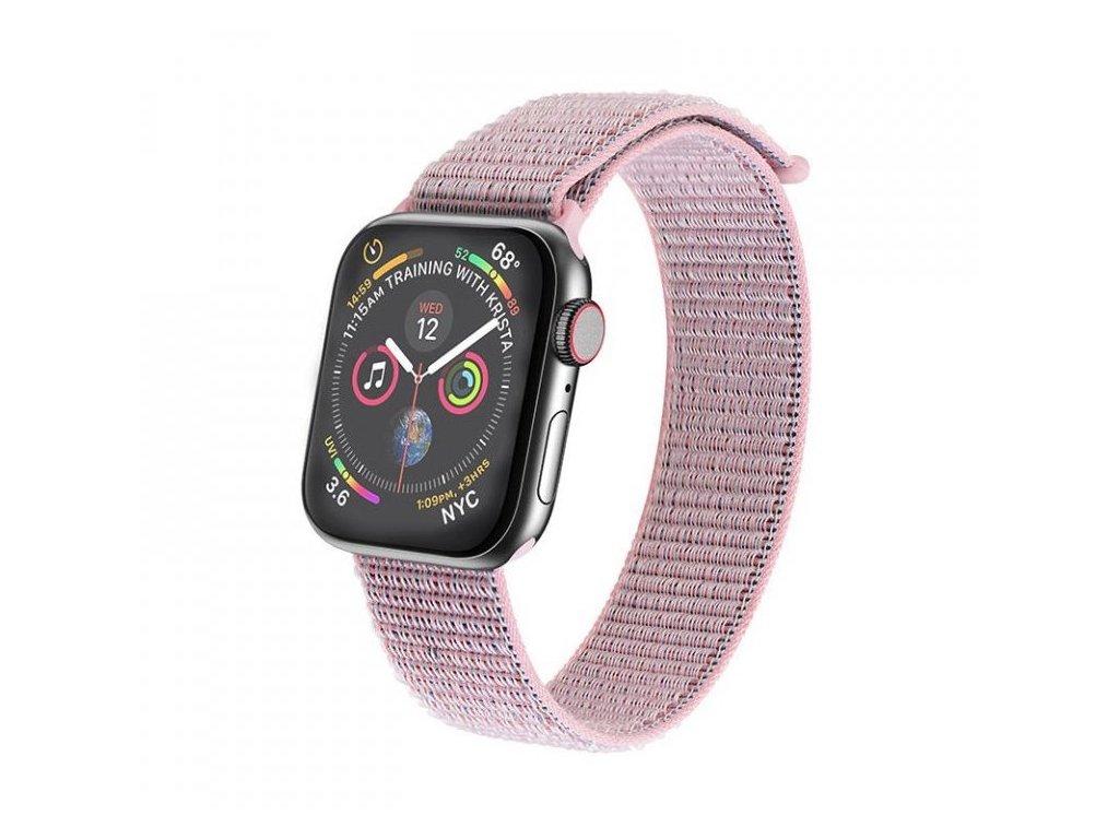 Tkaný nylonový provlíkací sportovní řemínek pro Apple Watch 42mm/44mm - RŮŽOVÁ / ŠEDÁ