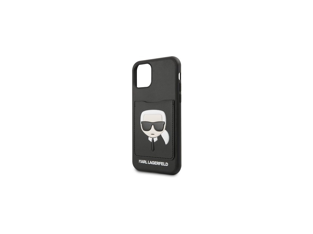 Silikonový kryt - Karl Lagerfeld s koženou kapsou- pro iPhone 11 - Černý