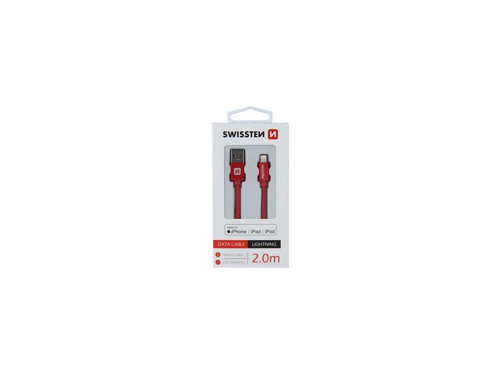Nabíjecí a datový kabel - SWISSTEN - Textilní - 2m - RED - MFi