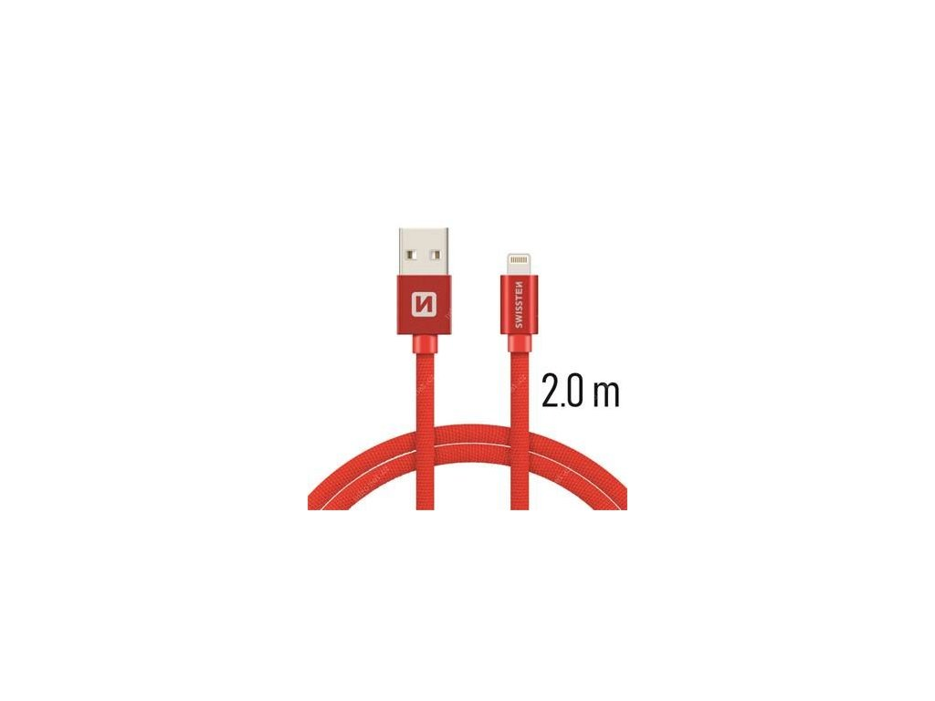SWISSTEN - Datový kabel 2m - RED - Made for iPhone/iPad/iPod