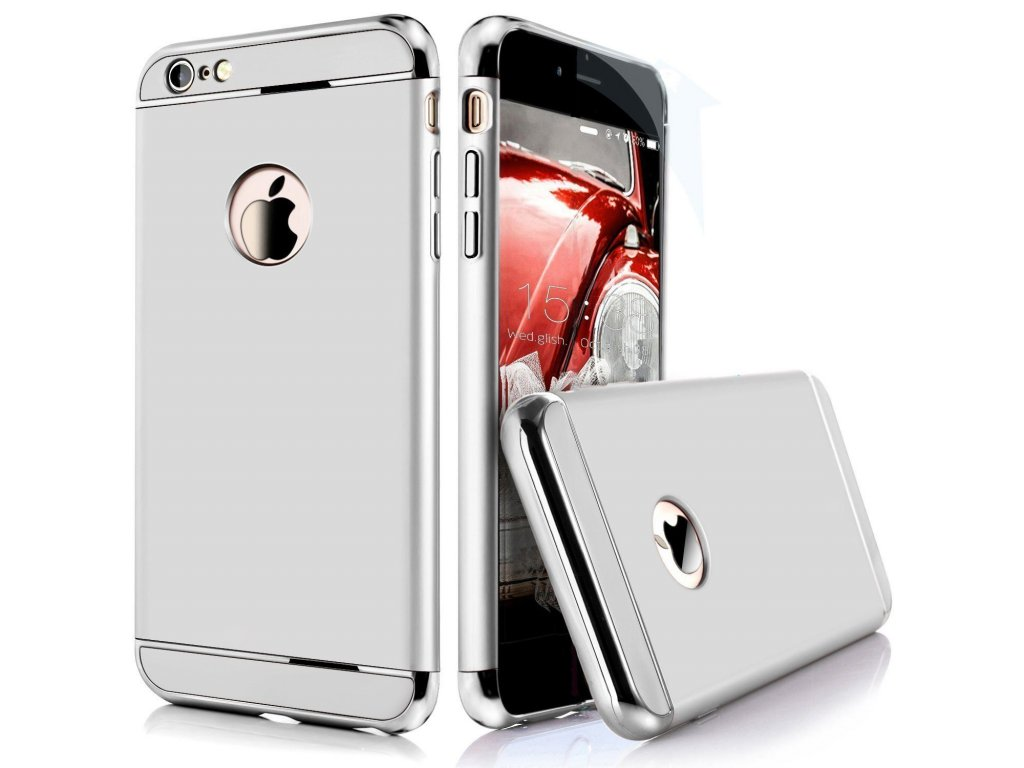 iPaky Chrome 3 Piece Hybrid Protective Back Case Cover for Apple iPhone 6 6S Silver B01H2028LY