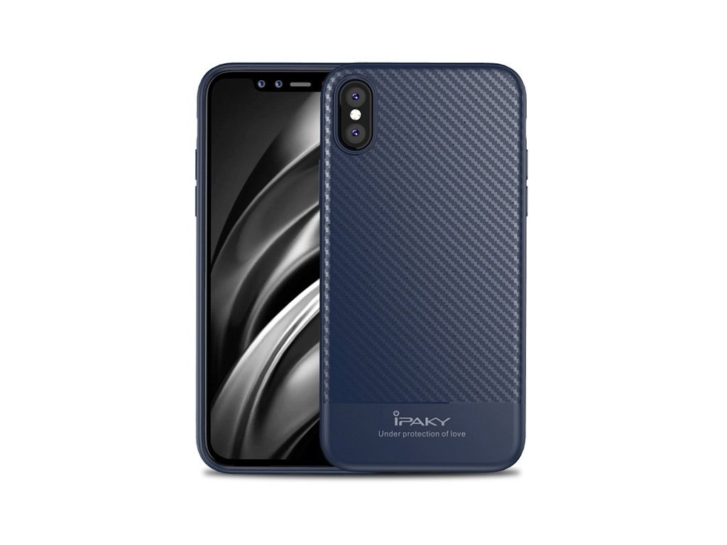Kryt na iPhone X/XS Carbon series - BLUE