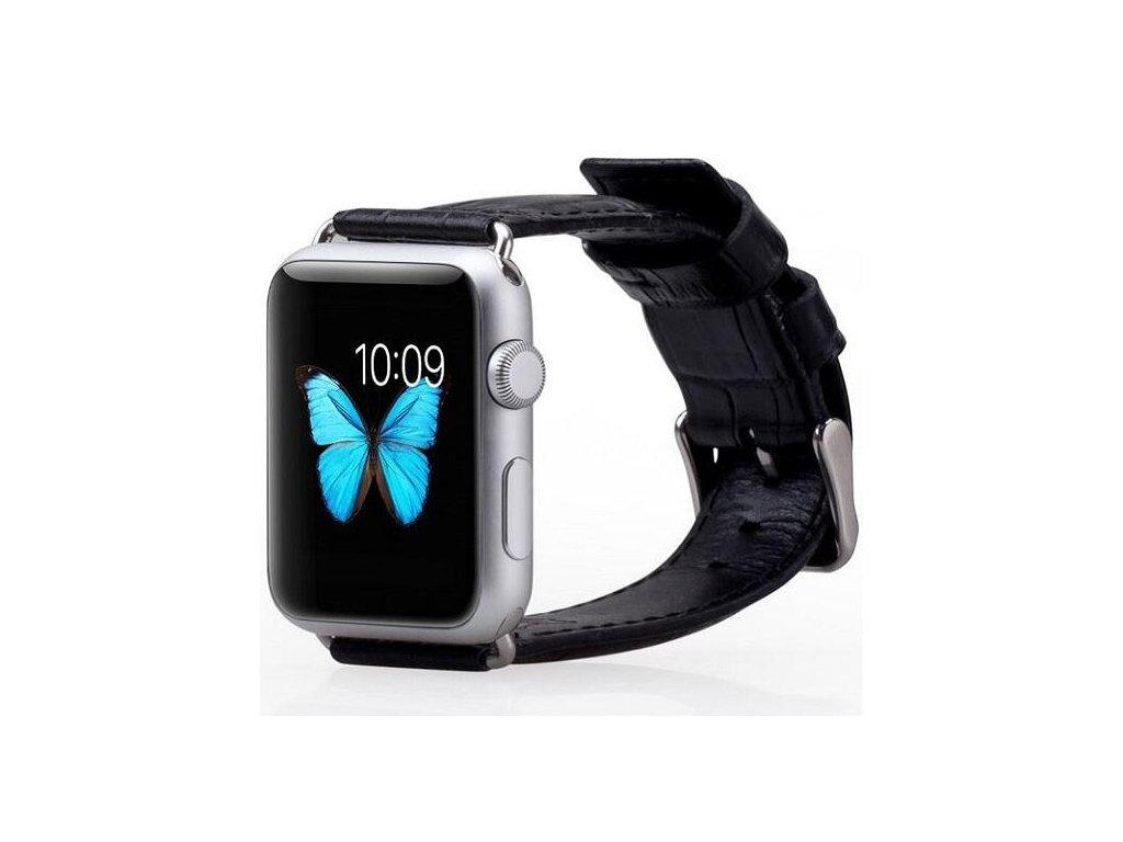 Řemínek na Apple Watch kožený 42/44mm - Black