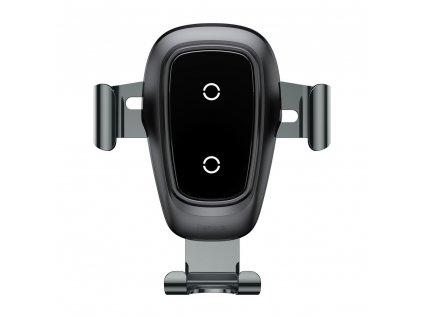 BASEUS Kovový držák do auta na ventilační mřížku s bezdrátovým nabíjením - Black