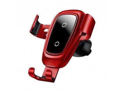 BASEUS Kovový držák do auta na ventilační mřížku s bezdrátovým nabíjením - Red