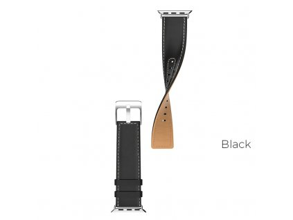 hoco wb04 duke series leather strap for apple watch series 1 2 3 4 black