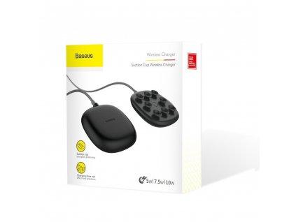 Bezdrátová nabíječka - Baseus - Suction Cup Wireless Charger - 10W - Černá
