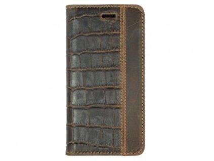 Hnědé kožené flipové pouzdro pro iPhone 6/6s Plus- CROCODILE
