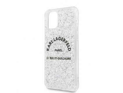 Glitter Kryt - Karl Lagerfeld St. Guilaume - pro iPhone 11 - Silver
