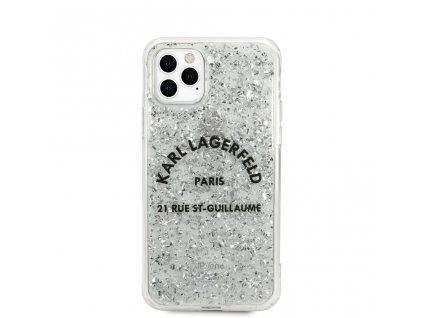 Glitter Kryt - Karl Lagerfeld St. Guilaume - pro iPhone 11 Pro - Silver