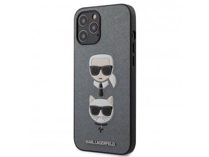 Kryt -Karl Lagerfeld Saffiano K&C Heads - pro iPhone 12 Pro Max - Silver
