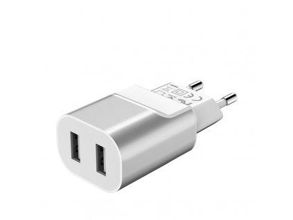 Hoco - Dvojitý nabíjecí adapter (Stříbrný) 2.1A
