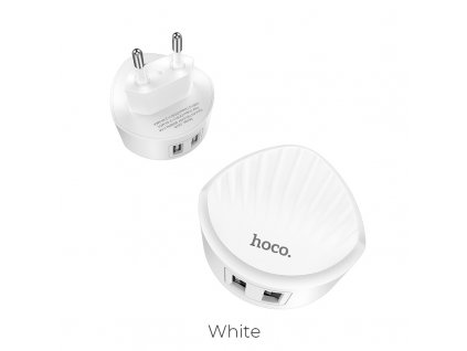 hoco c67a shell dual usb port charger eu plug white 2