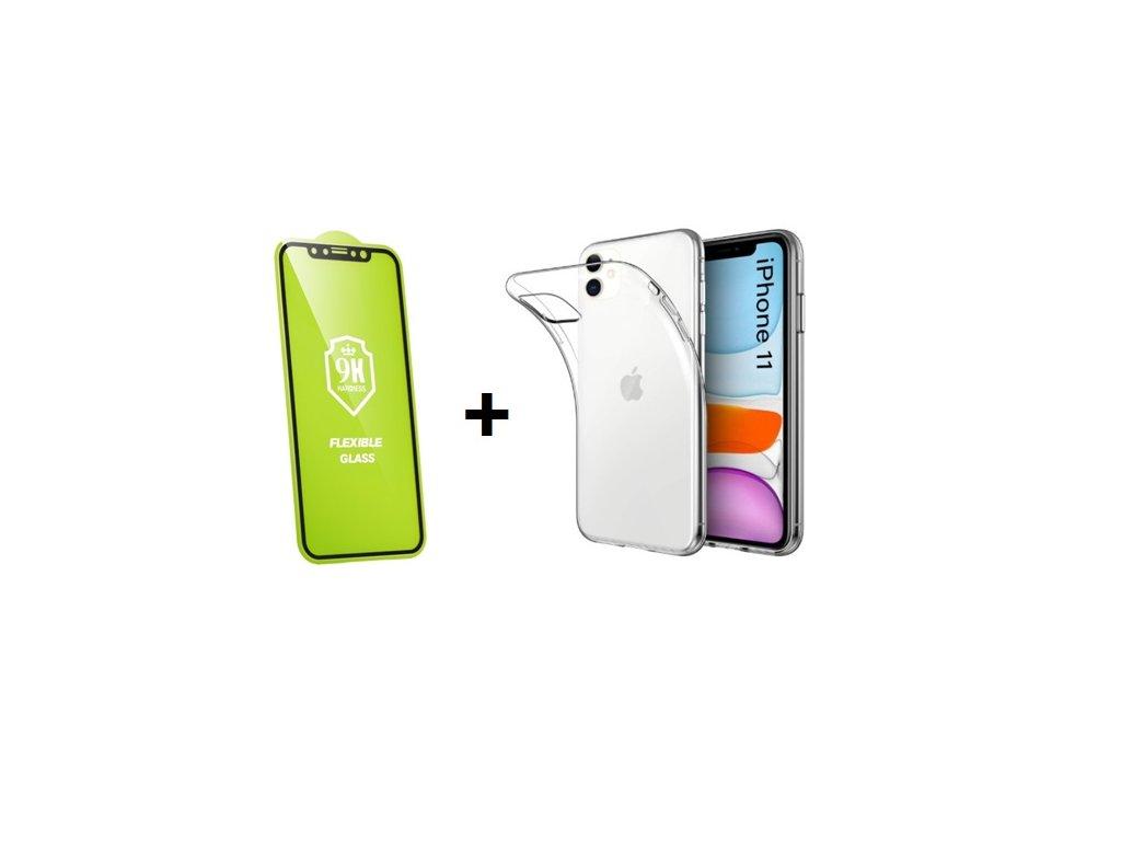Set pre iPhone 11 - ochranné sklo + silikónové púzdro