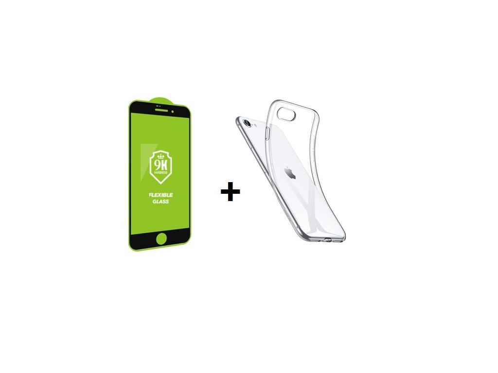 Set pre iPhone 7/8/SE 2020 - ochranné sklo + silikónové púzdro
