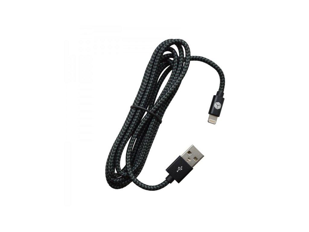 pleteny kabel mfi lightning sturdo cierny 2a 1 8m kab 0083 stu light b