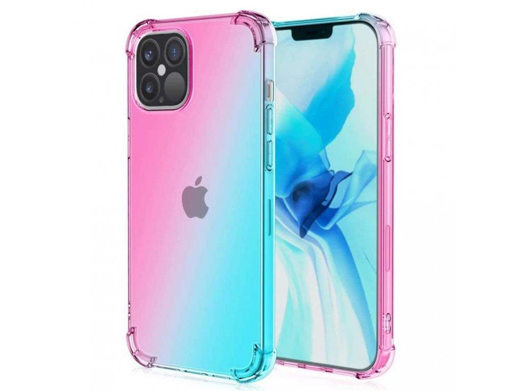 Púzdro Gradient iPhone 12 ružovo-modré