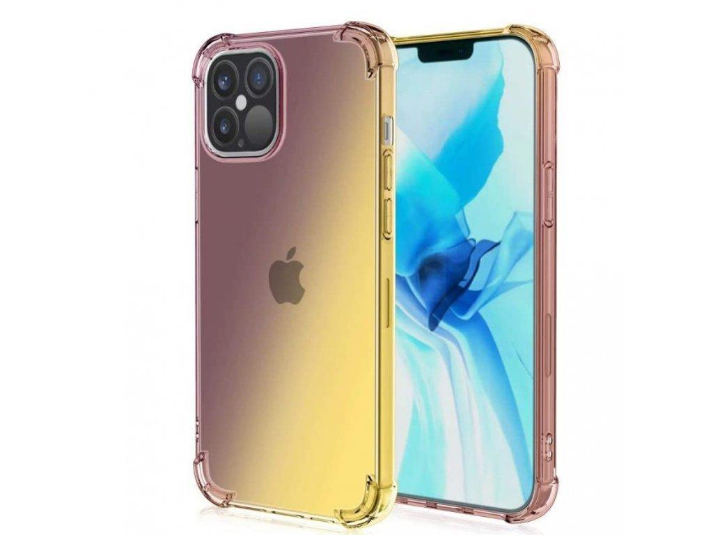 Púzdro Gradient iPhone 12 hnedo-žlté