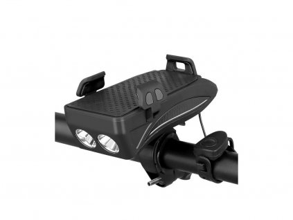 Čierny bike držiak so svetlom a 4000mAh batériou
