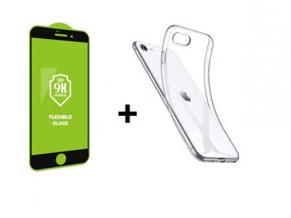 Set pre iPhone ochranné sklo + silikónové púzdro transparent
