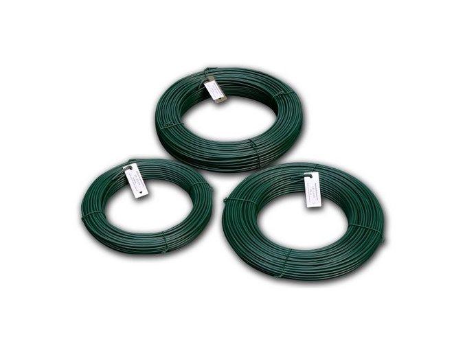 Napínací drát poplastovaný zelený (PVC) 2,9/3,9 mm, 78 m