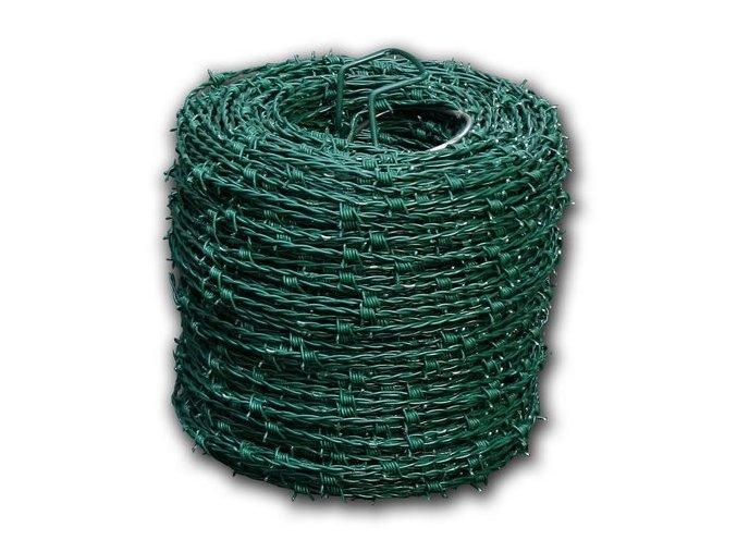 Ostnatý drát PVC zelený, 250 m