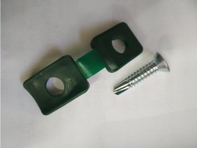 Příchytka certifikovaná z PVC na napínací drát - zelená včetně šroubu