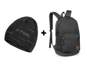 Pletená čepice + batoh