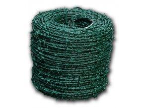 Ostnatý drát PVC zelený, balení 100 m