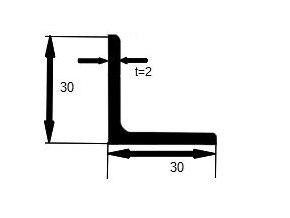 L profil 30x2 ostry