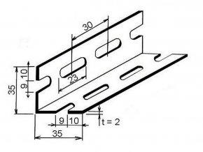L perforovaný 35x35x2