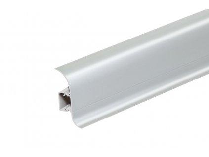 Soklová lišta NG56, Materiál PVC, Dekor stříbrná, Výška 56 mm, Délka 2,5 m