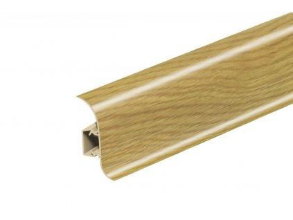 Soklová lišta NG56, Materiál PVC, Dekor dub tmavý, Výška 56 mm, Délka 2,5 m