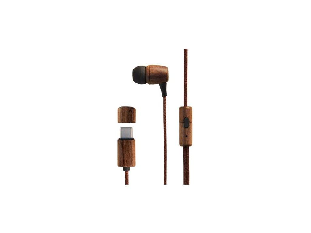 ENERGY Earphones Eco Walnut Wood (USB-C, In-ear, Sustainable wood, Hemp cable, Mic, Control Talk)