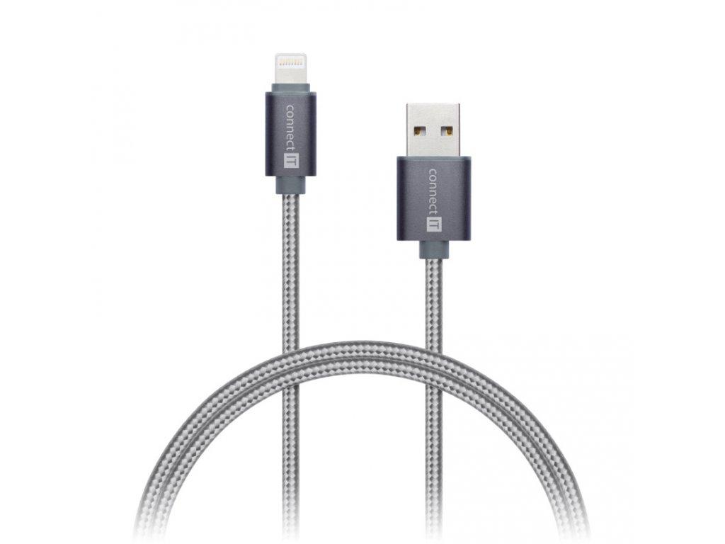 CONNECT IT Wirez Premium Metallic Lightning - USB, silver gray, 1m