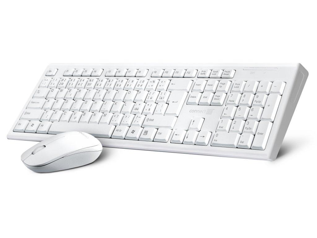 CONNECT IT Combo bezdrátová bílá klávesnice + myš, CZ + SK layout
