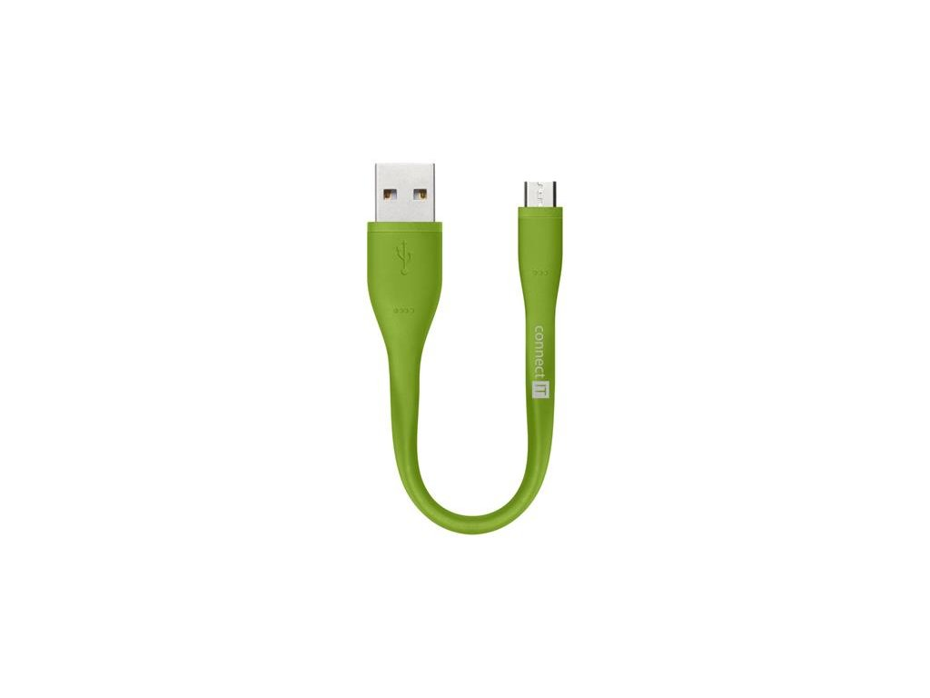 CONNECT IT Wirez Micro USB - USB pro power banky, zelený, 13 cm