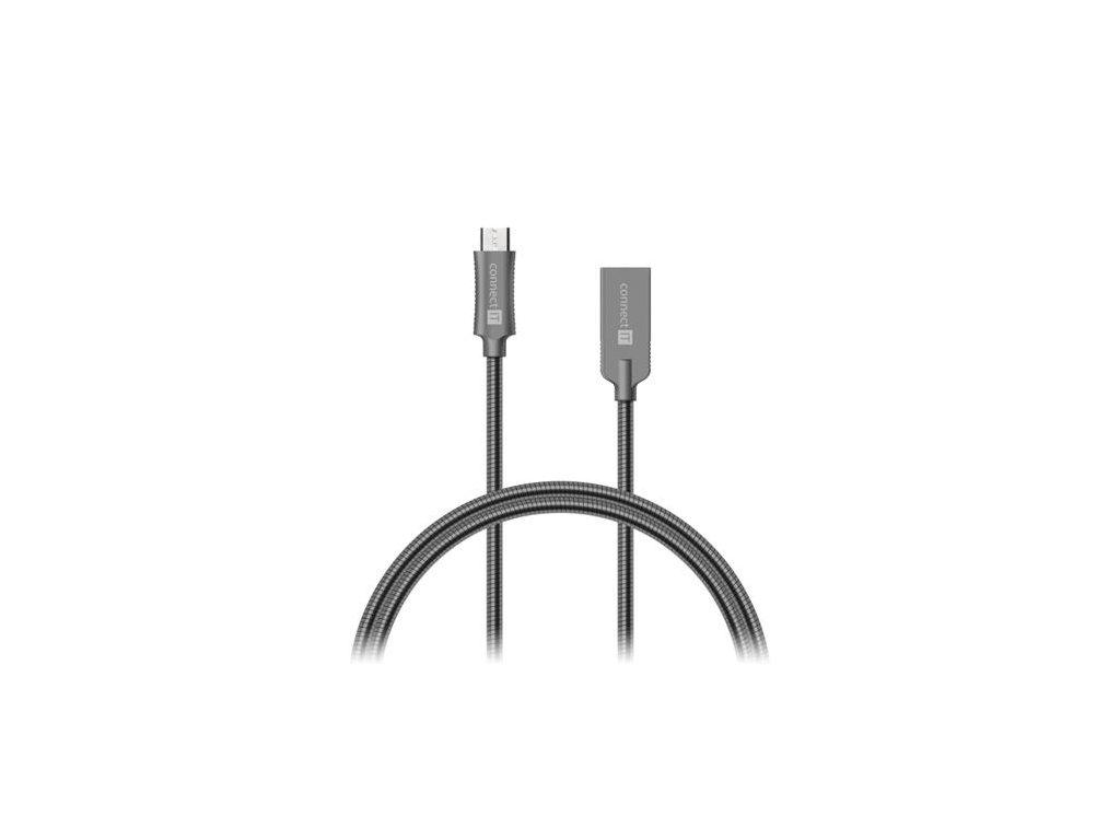 CONNECT IT Wirez Steel Knight Micro USB - USB, metallic anthracite, 2,1 A , 1 m