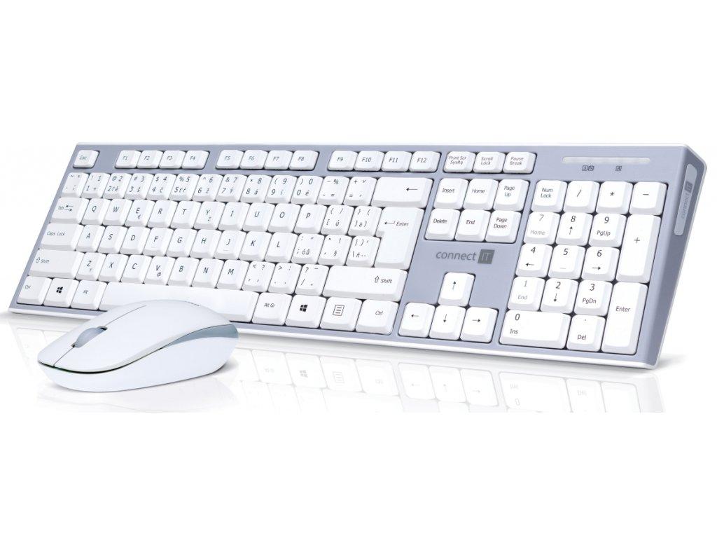 CONNECT IT Combo bezdrátová klávesnice + myš, 2,4GHz, USB, CZ + SK layout, šedo-bílá