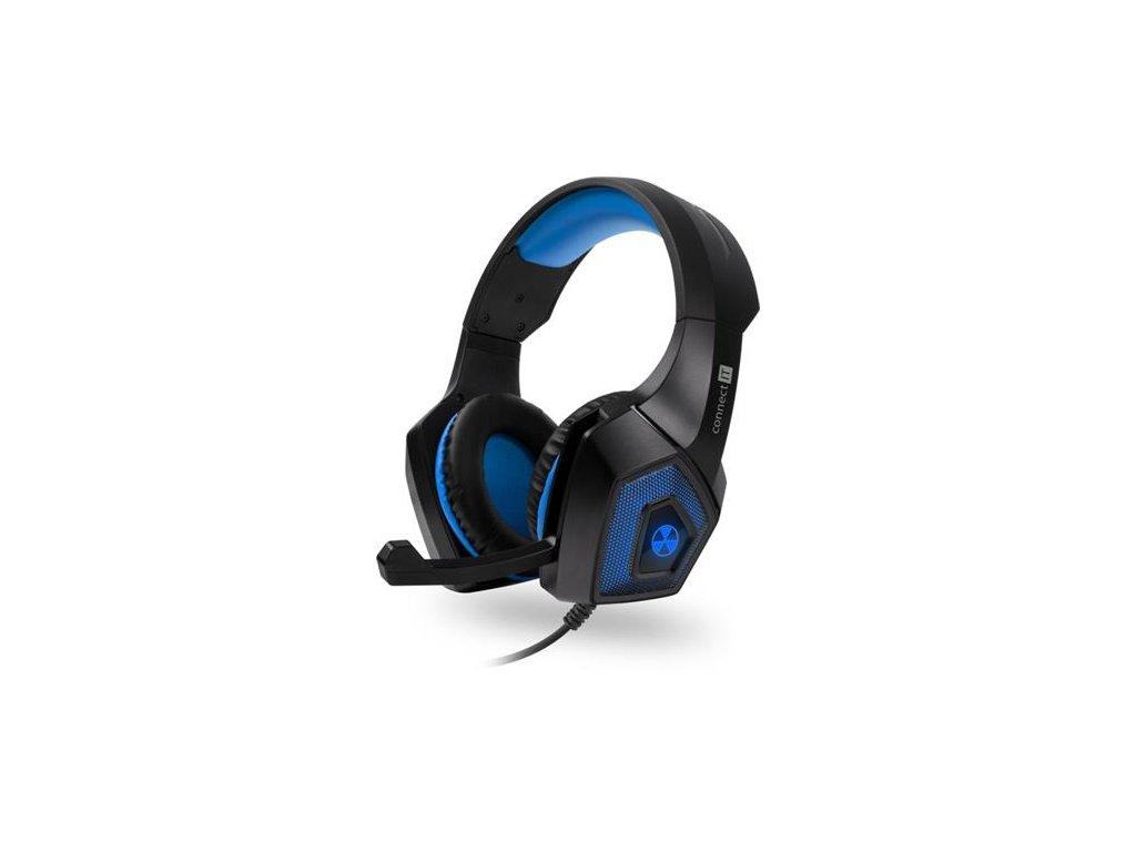 CONNECT IT BATTLE RNBW Ed. 2 herní sluchátka s mikrofonem, 3,5mm Jack + USB MODRÁ