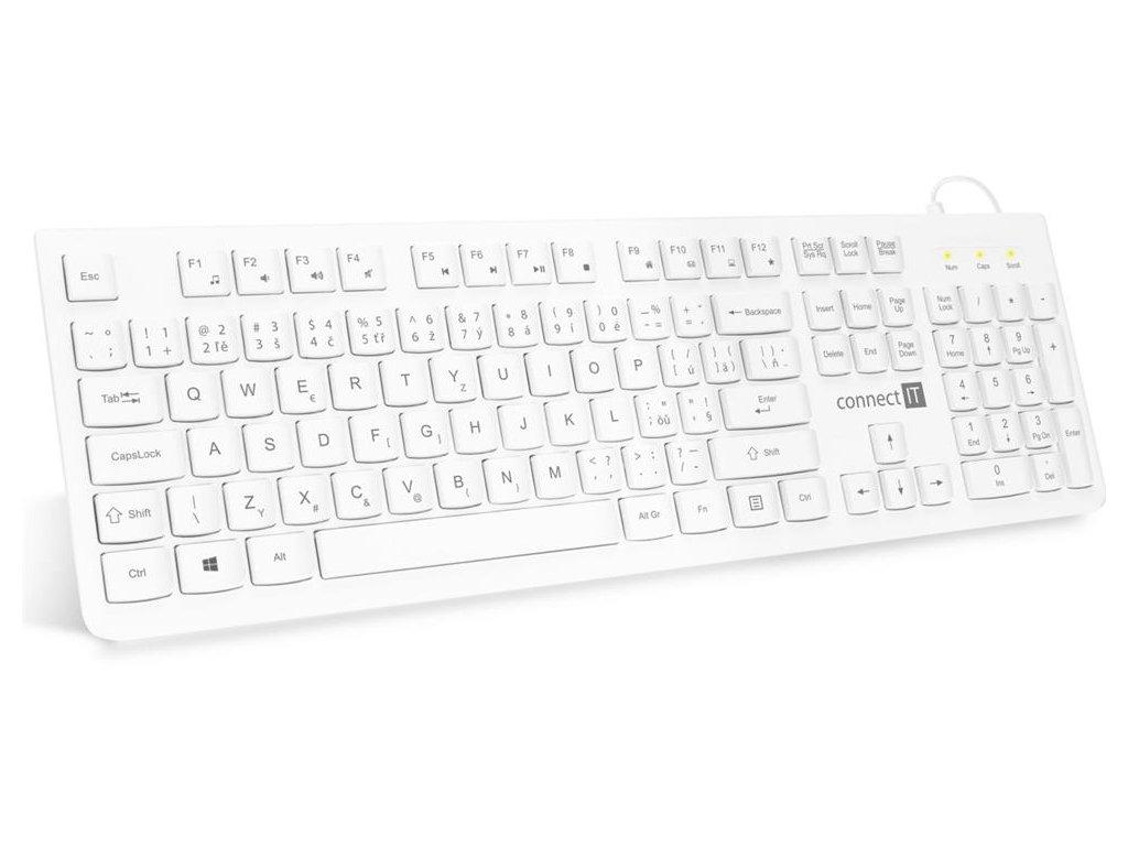 CONNECT IT kancelářská chocolate klávesnice, CZ + SK verze, USB, bílá