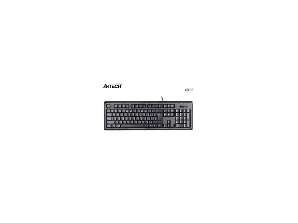 A4tech KR-92, klávesnice, CZ/US, USB, voděodolná, černá