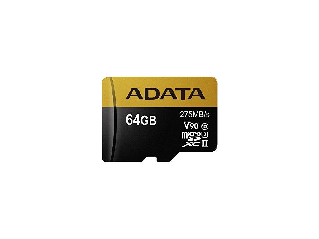 ADATA 64GB MicroSDXC UHS-II U3 s adapterem