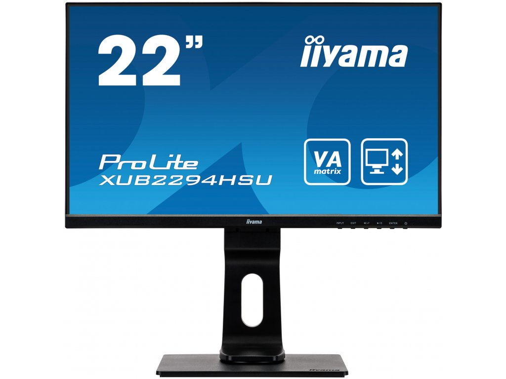 22'' iiyama XUB2294HSU-B1: VA, FullHD@75Hz, 250cd/m2, 4ms, VGA, HDMI, DP, USB, height, pivot, černý