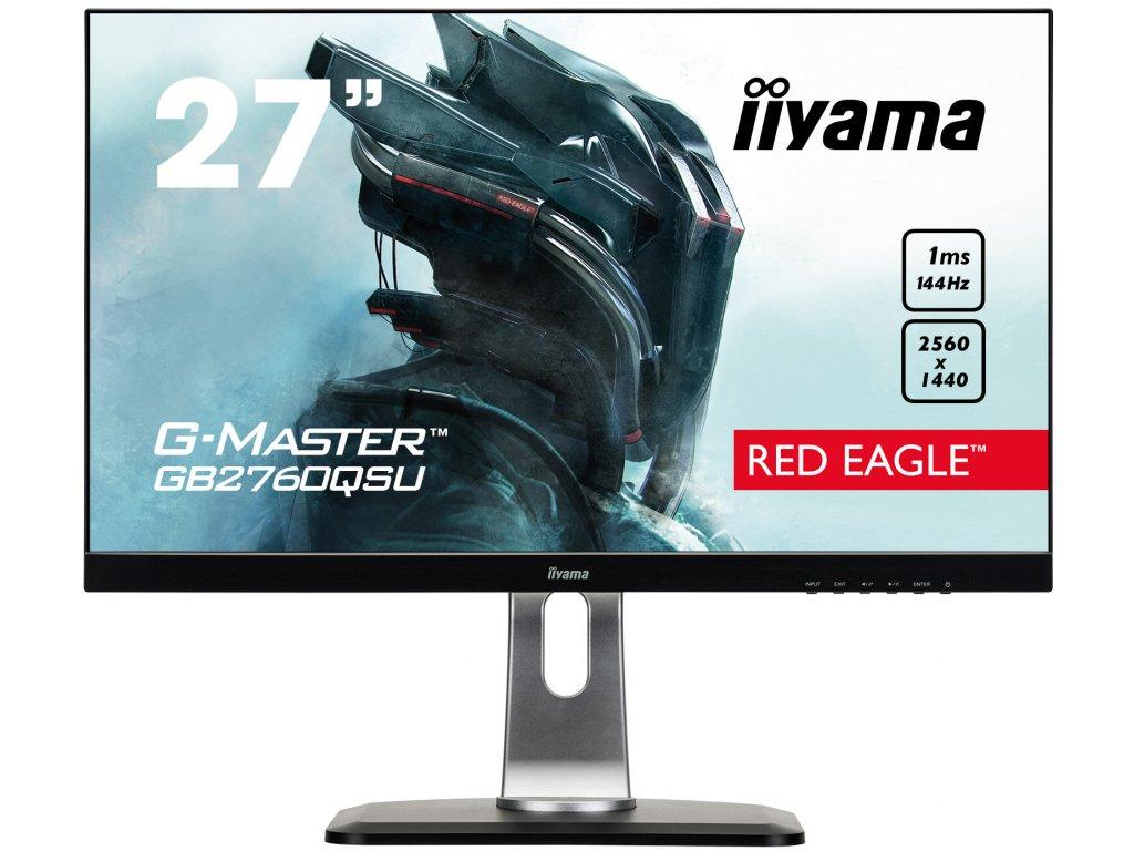 27'' LCD iiyama G-Master GB2760QSU-B1 - WQHD,144Hz,FreeSync,1ms,350cd/m2,1000:1,DVI,DP,HDMI,USB,repro