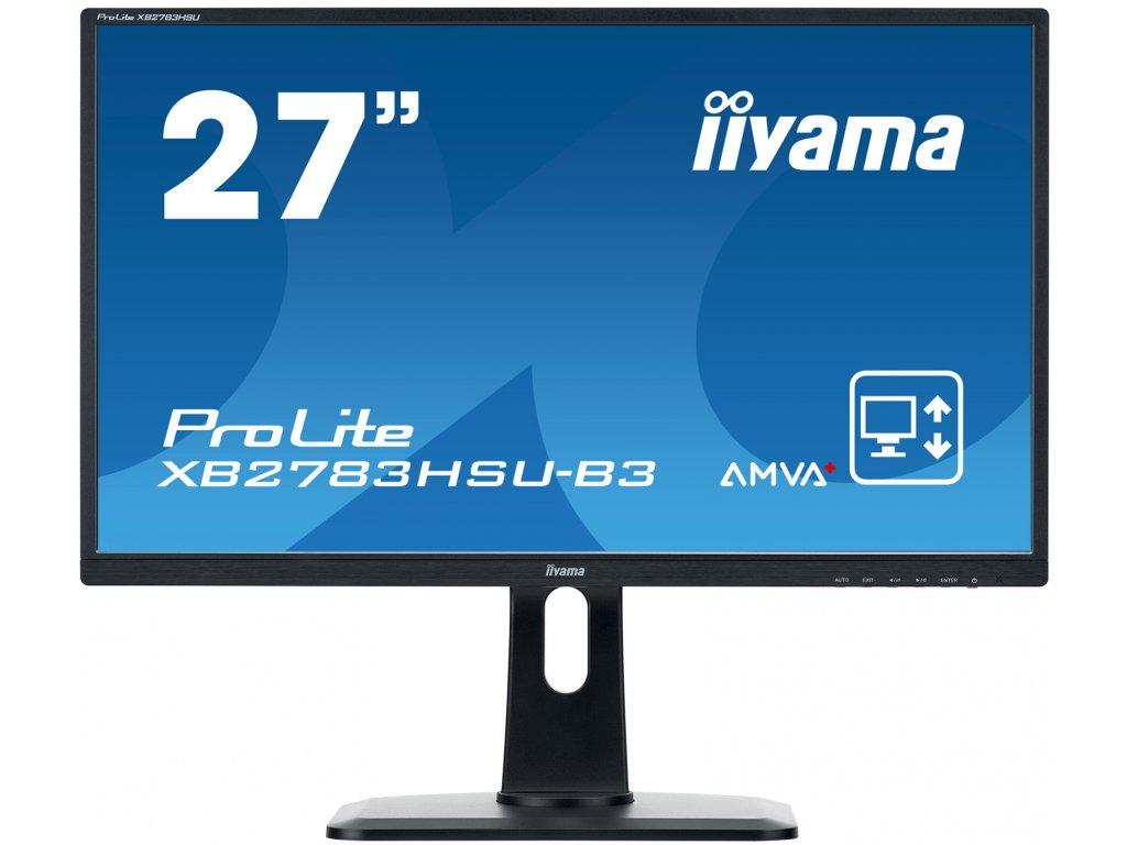 27'' LCD iiyama XB2783HSU-B3 -AMVA+,4ms,300cd/m2,3000:1,FHD,VGA,HDMI,USB,repro,pivot,výšk.nastav.